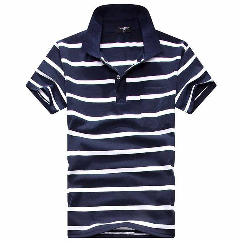 カジュアル綿紳士男性ポロシャツ綿ポケット装飾ストライプポロオム夏半袖カミーサポロスリムフィットティー