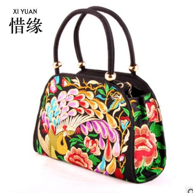 Xiyuan бренд 5 видов цветов Этническая текстильные ручной работы вышитые  сумки Винтаж женские сумки на плечо 69ad44a3d84