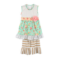 Factory Selling Summer  Girls Clothes Floral Cotton Top Stripes Ruffle Pants Boutique Remake Kids Summer Outfits S119