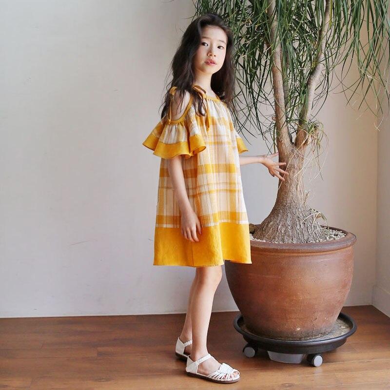 Filles robe à carreaux pour la fête sans manches sangle robes enfants Costume enfants robes pour filles robe de princesse Vestido infantil
