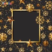 Yeele Black Golden Star Snowflake Frame Party Birthday Photography Background Customized Photographic Backdrops for Photo Studio