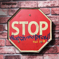 STOP Watch And Pray LED Signs Light Illuminated Bar Pub Retro Plaque Garage Hanging Metal Decorative