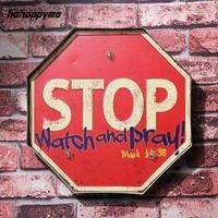 STOP Watch And Pray LED Signs Light Illuminated Bar Pub Retro Plaque Garage Hanging Metal Decorative