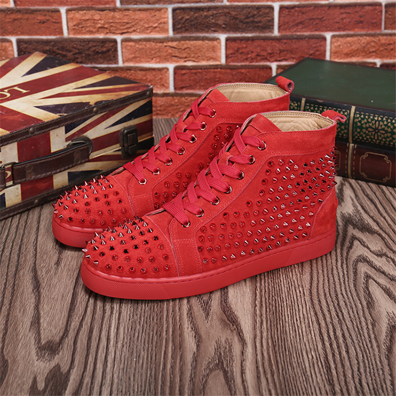 Hanbaidi New Fashion Red mens Casual Shoes High Top Sneaker Round Toe Studded Rivets Spikes Shoes Lace Up Flock Leather 35 46 46