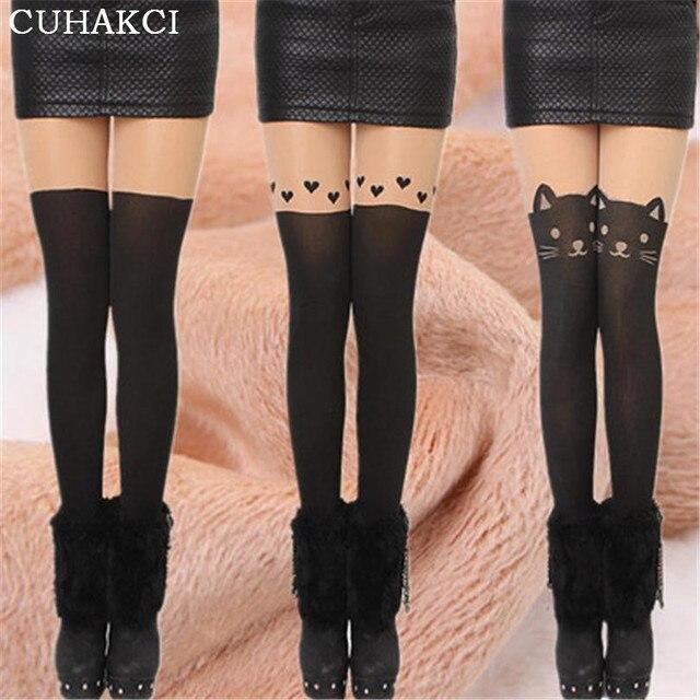 2017 inverno preto sexy cat cauda patchwork totoro meias de nylon de veludo engrossado tatuagem mulheres collants meia-calça sexy mídias w028