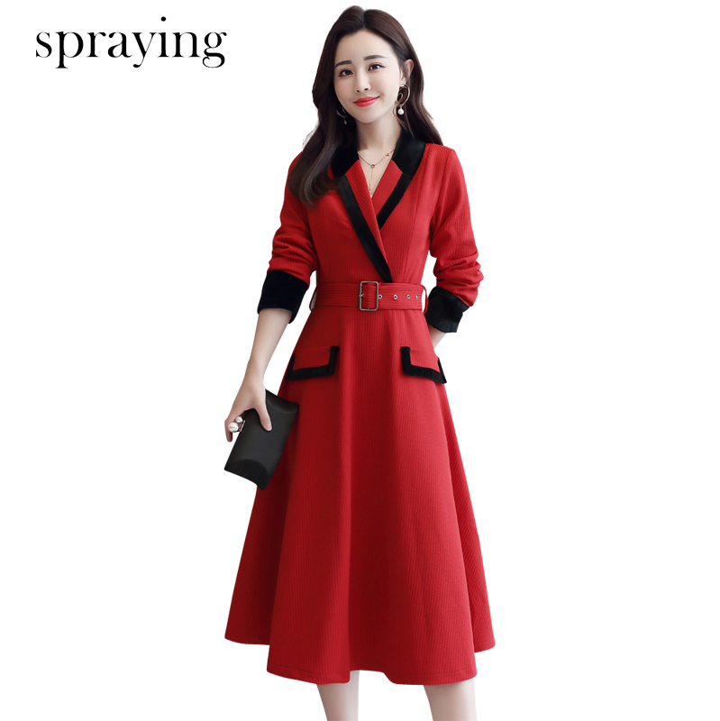 2019 New slim Long sleeve office lady Dress korean spring dress top quality Elegant temperament Notched
