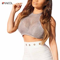 Vancol 2017 Lace Up Sexy Halter Female Shirt Summer Ladies Beach Sexy Knitted Cropped Crop Top