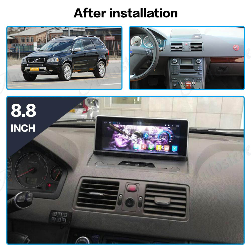 Android 7.1 Car No DVD player For Volvo xc90 2007-2013 GPS navigation stereo Satnav Head unit Multimedia radio tape recorder IPS hi fi speaker cables pair