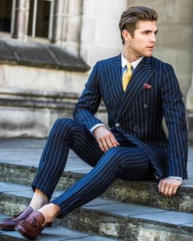 New Arrival Double Breasted Navy Stripe Groom Tuxedos Peak Lapel Groomsmen Mens Wedding Suits Blazers (Jacket+Pants+Tie) W:555