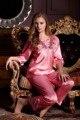 Полный рукав сексуальные женские шелковые пижамы установить бесплатная доставка 2017 новый приходят влюбленных день подарки для жены pijamas установить высокое качество костюм