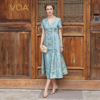 VOA Jacquard Short Sleeved V Collar Silk Dress Elegant Retro Slim Double Breasted Swing Dress A6938