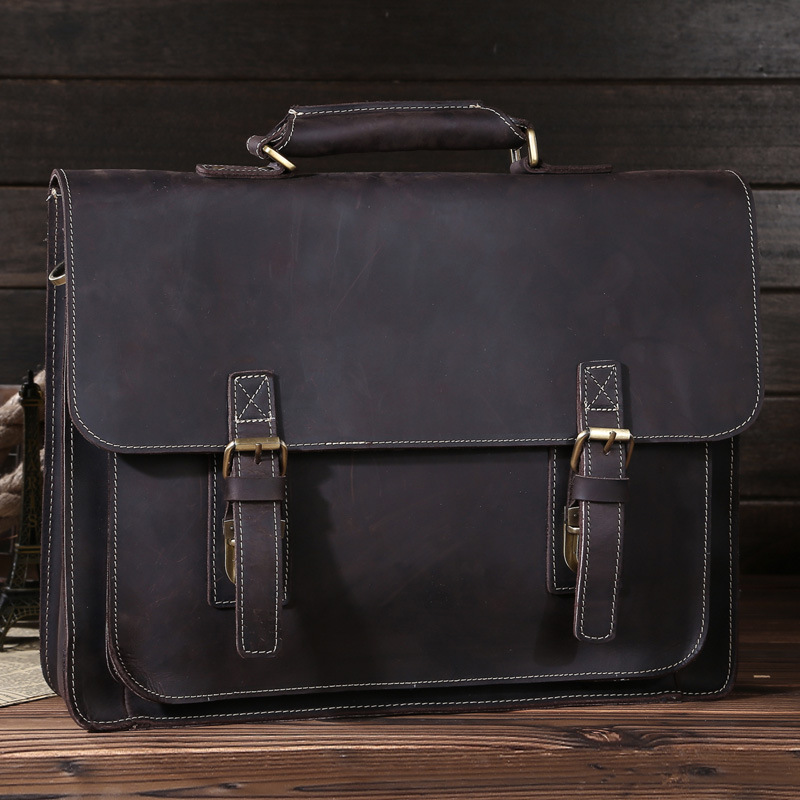 Retro mad horse leather postman bag leather briefcase single shoulder bag oblique satchel handbag 6912Retro mad horse leather postman bag leather briefcase single shoulder bag oblique satchel handbag 6912