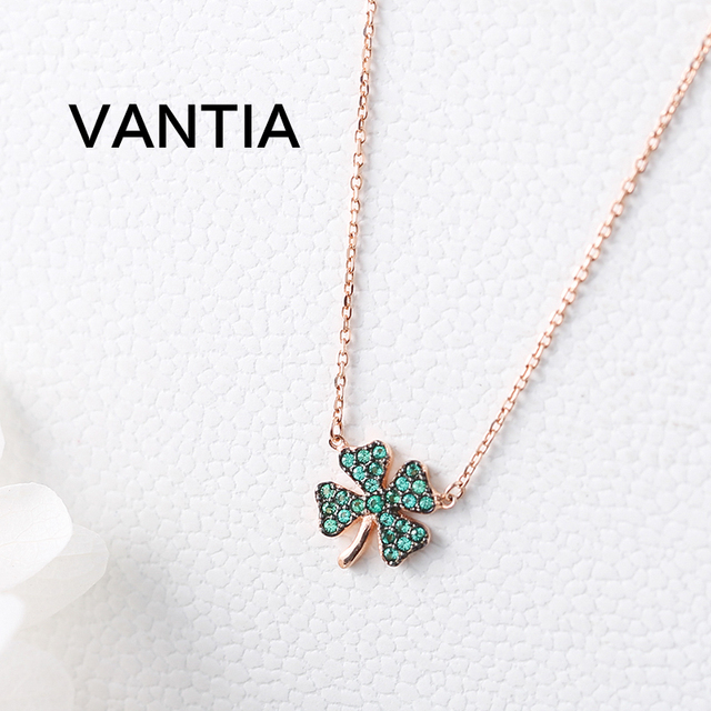 VANTIA 2017 Trendy Women Vintage Fashion Jewelry Heart Crystal from Swarovski Four Leaf Clover 925 Sterling Silver Necklace