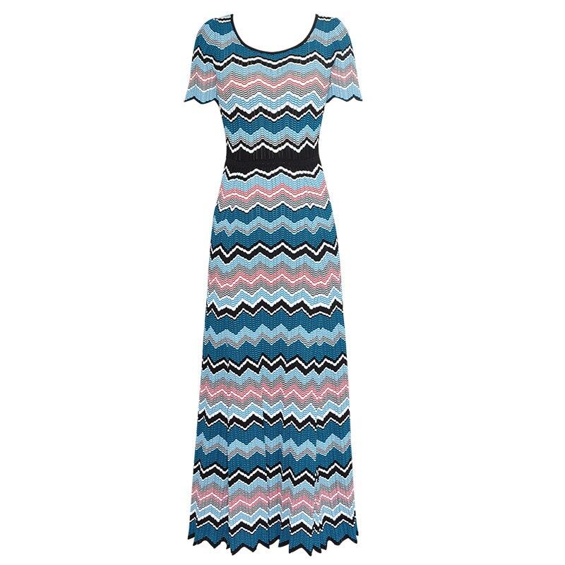 Nouveau femmes multicolore tricoté coton robe de défilé mode o-cou longues robes 5332