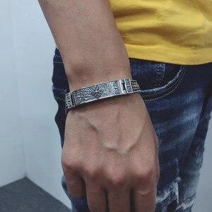 Image 5 - 100% Pure 925 Sterling Silver Bracelets for Women Men Fine Jewelry Vintage S925 Solid Mantra Thai Silver Chain Bracelet