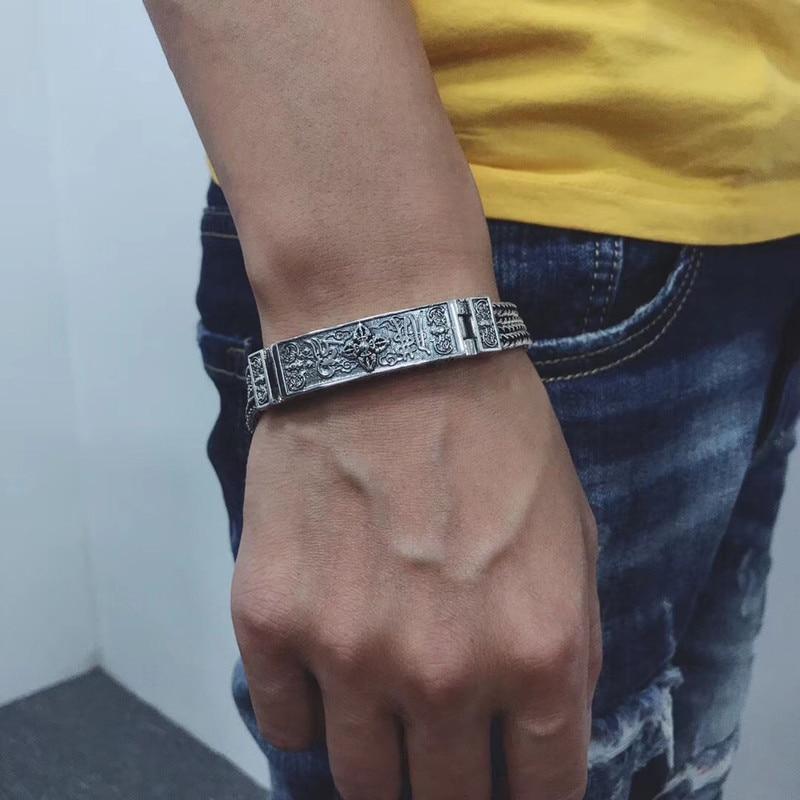 Image 5 - 100% czysta 925 bransoletki ze srebra wysokiej próby dla kobiet mężczyzn elegancka biżuteria w stylu Vintage S925 solidna Mantra Thai Silver Chain BraceletBransoletki i obręcze   -