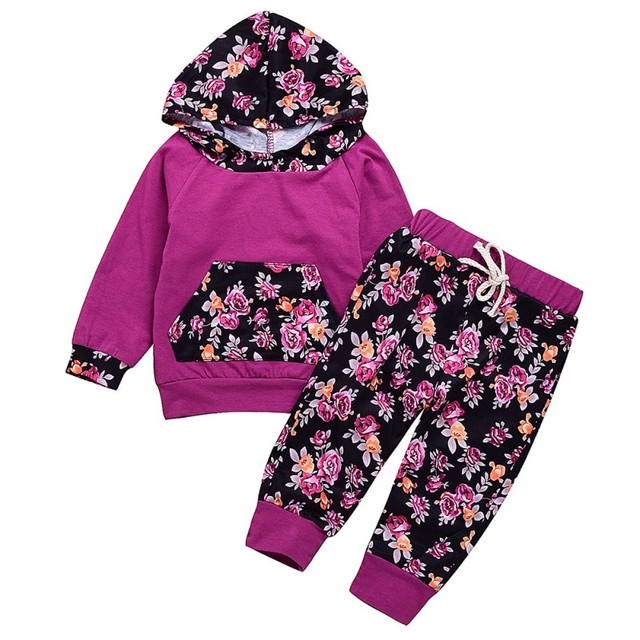 db7d840c333c Autumn Newborn Baby Girl Floral Printing Hoodie Purple T-Shirt Top + Pants  Outfits Set