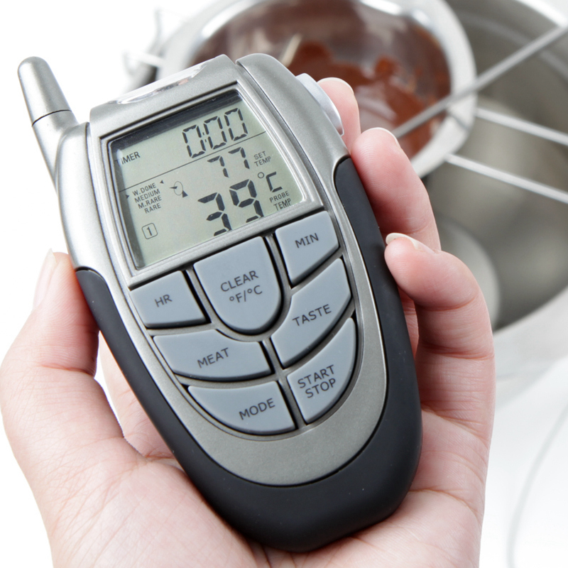 Remote Wireless BBQ Thermometer / Wireless Oven Thermometer Home Use Stainless Steel Probe Large Screen with Timing M1608