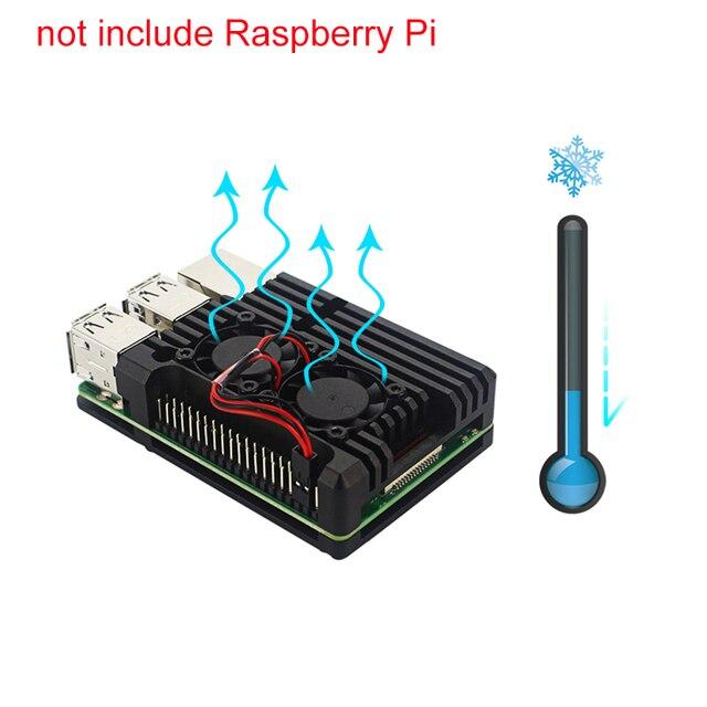 Raspberry Pi 3 Model B+ Plus Dual Fans CNC Aluminum Alloy Case with Copper Heat Sinks compatible Raspberry Pi 3 Model B
