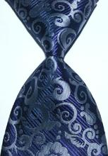 Brand New Classic Tie Geometric Dark Blue Navy Silver Gray Jacquard Woven 100% Silk Fashion Business Party Men's Tie Necktie