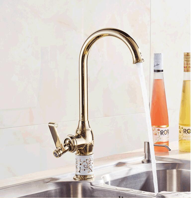 Fashion high quality copper single lever hot and cold gold finished kitchen Faucet tap sink faucet with ceramic base
