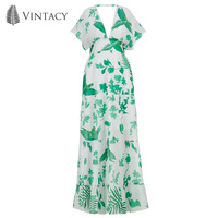 Vintacy High Waist Summer Dress White Green Print Tunic Robe V Neck Backless Chiffon Dresses Women