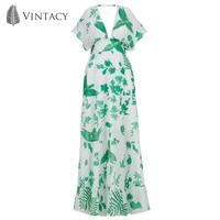 Vintacy High Waist Summer Dress White Green Print Tunic Robe V Neck Backless Chiffon Dresses Women