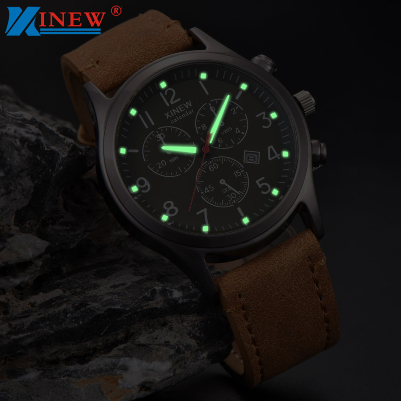 High Quality Mens Watches Brand Luxury Casual Military Quartz Sports Wristwatch Leather Strap Male Clock Pointer Luminous Hours sinobi high quality watches mens leather quartz watch luxury brands males rose gold steel casual wristwatch gents clock hours