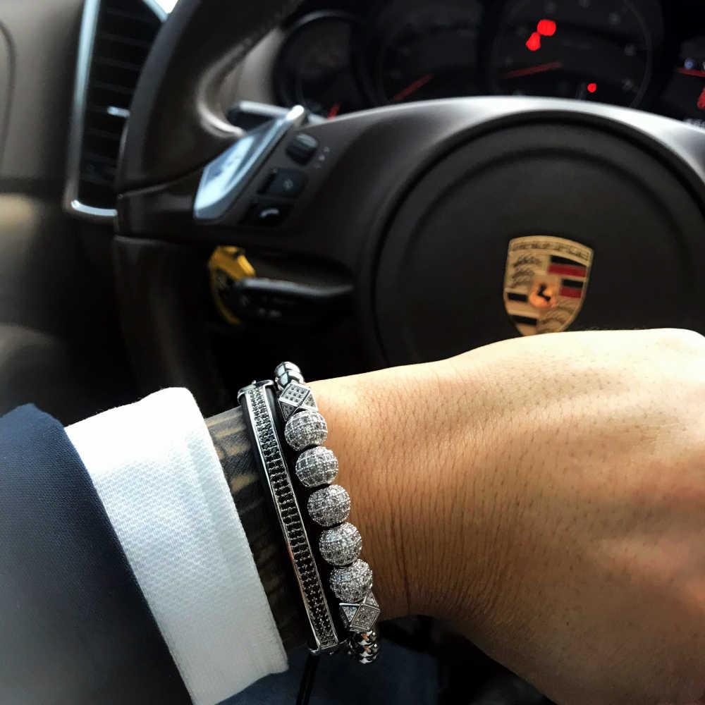 Mcilroy luksusowe urok złoty/srebrny stal stalowe koraliki plecionki bransoletka mężczyzn geometryczne Ball Pave CZ cyrkon bransoletki biżuteria nowy