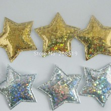 PA0050 микс 100 шт 3 см диско мерцание на золоте и серебряном войлоке звезды аппликации Декоративные ремесло и скрапбукинг материал
