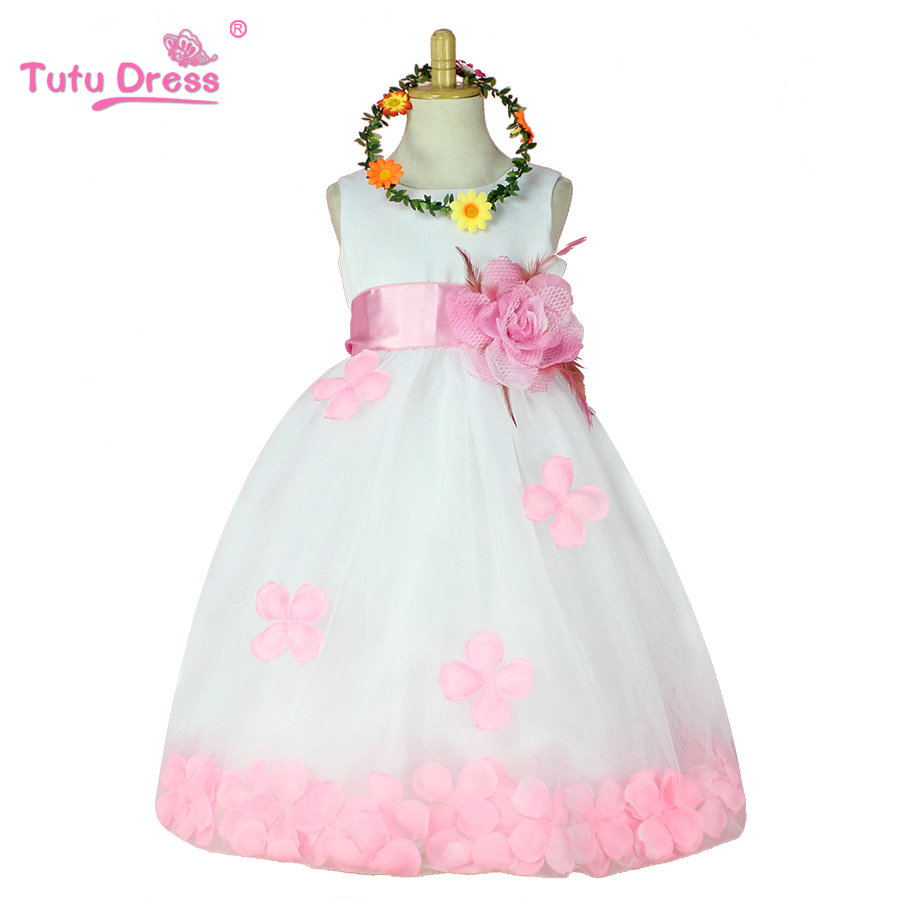 Aliexpress Buy Flower Girl Dresses White With Rose Petal Dress