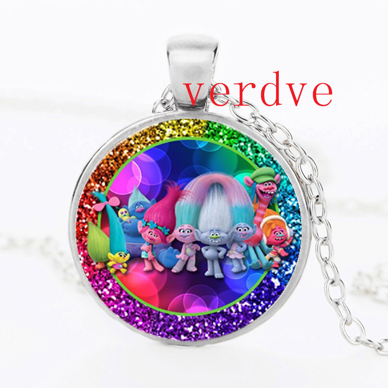 2017 Kid Dress Up Figures Action Toys New DreamWorks Silver Crystal spinner Chain Trolls Pendant Crystal Necklace Jewelry