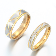 316 Stainless Steel Gold Color lover Couple Rings for Men and Women