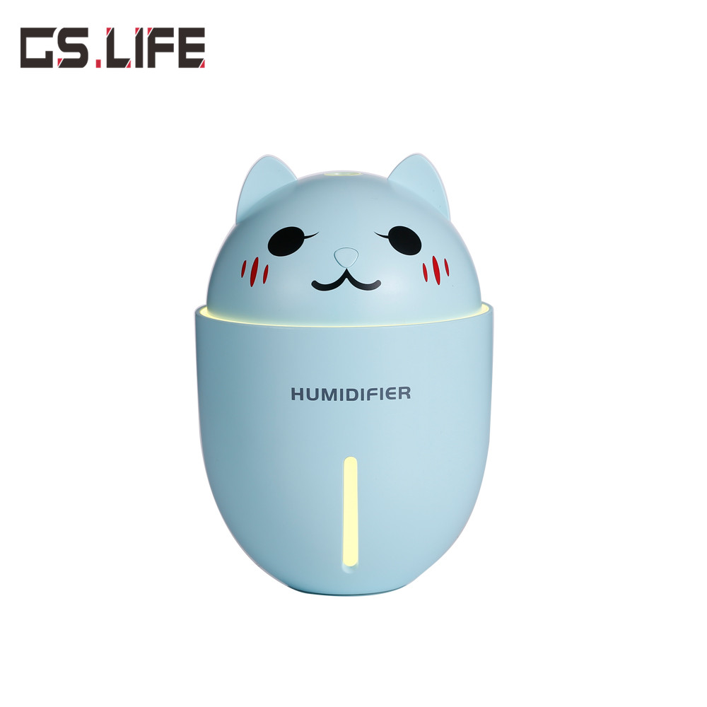 Cute Pet Humidifier Creative Gifts 3-in-1 Multifunction USB Dekstop Diffuser Cartoon Cat Air Humidifier With Fan Table Lamp