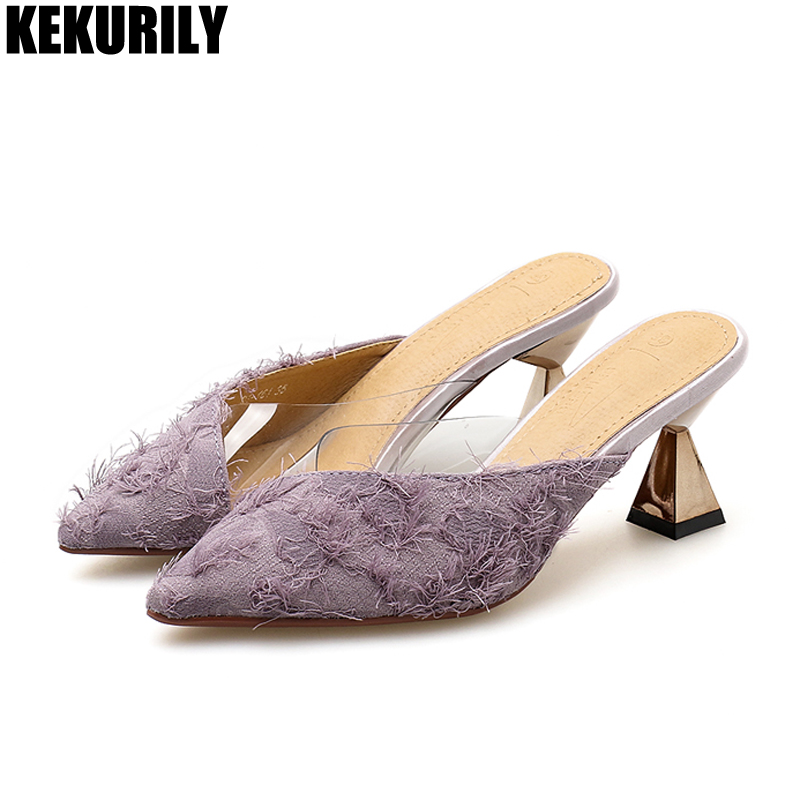Woman Shoes Fringe Pointed toe Slippers Ladies High Heels Mules Summer PVC Slip on Slides Zapatos mujer Camel white Black Purple