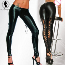 ALINRY Plus size New sexy lingerie hot PU leather black thigh-highs pantyhose tights splice sexy leggings pants erotic lingerie