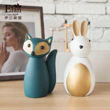 resin small cute animal statue home decor crafts room decoration ornament objects rabbit fox owl figurine dolls for girls