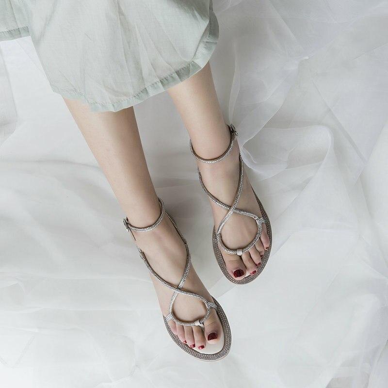 Moda Casual Cuero Tacón Sandalias Cristal Plata Señoras De Fiesta 2019 Plano Las Mujeres Zapatos Verano Cwx5Zwq0v