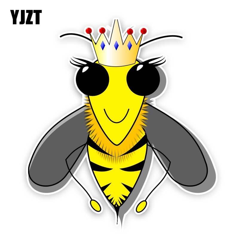 YJZT 14 см * 15,5 см пчела с короной стикер автомобиля ПВХ наклейка 12-300751
