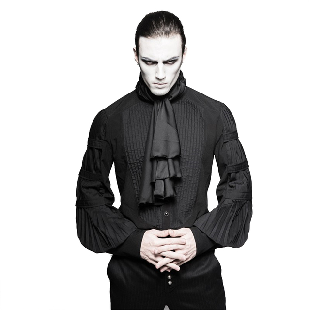 Gothic Steampunk Men Ruffle Blouses Costume Black Silk Ties Big ...