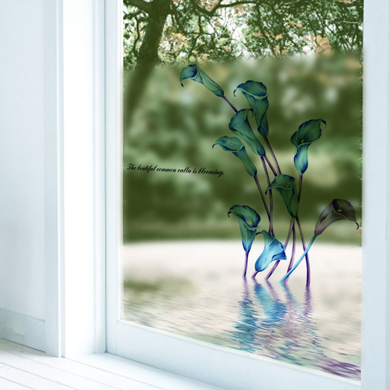 Calla Lily Wall Sticker Flower Frosted Glass Film Paper