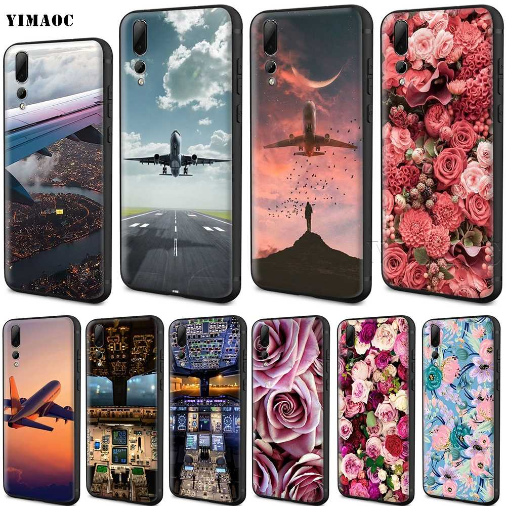 YIMAOC Aircraft Airplane Fly Travel Silicone Case for Huawei Mate 10 P8 P9 P10 P20 Lite Pro P Y7 Y9 Smart Mini 2017 2018