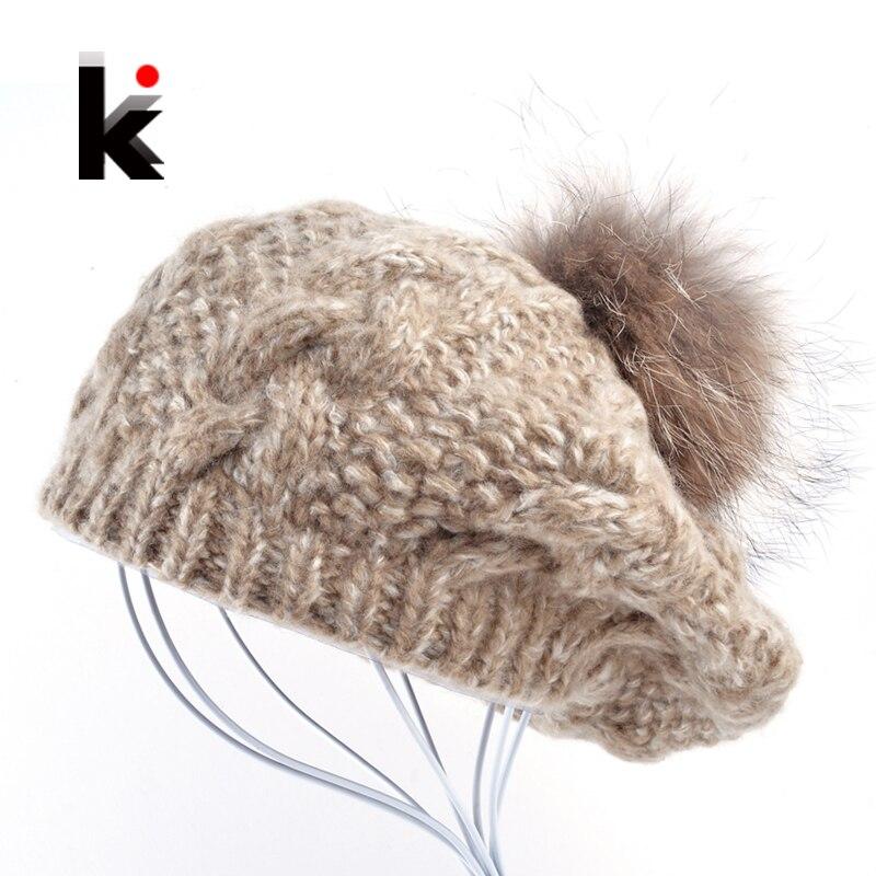 2016 Winter Raccoon Fur Pompom Beret Ladies Knit Wool Hat Hand Knitted Cap Female Berets Hats