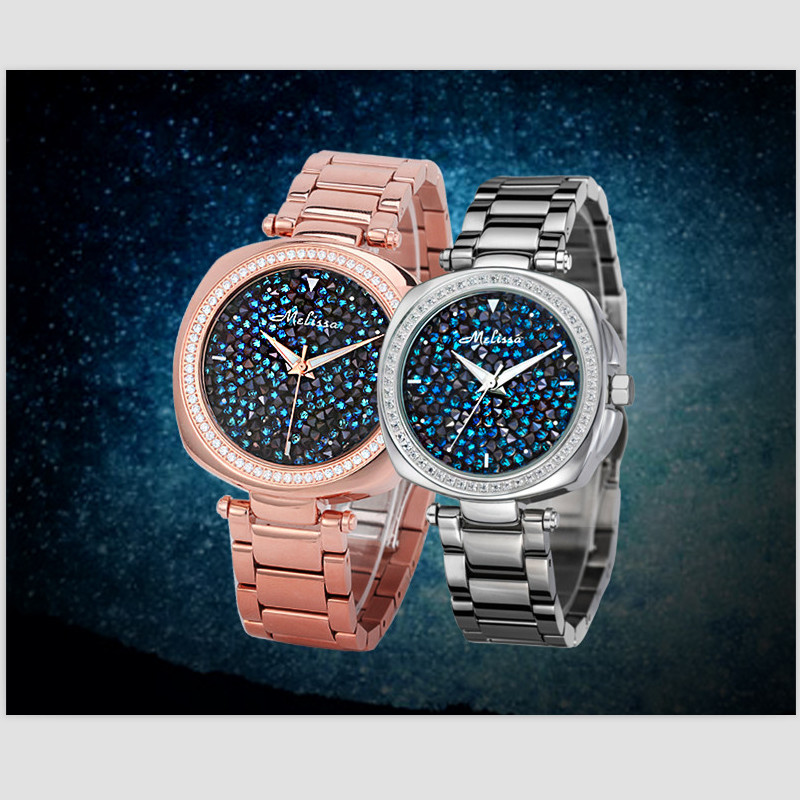 Melissa Luxury Starry Night Stars Watches Lovers Gorgeous Full Crystals Dress Wrist watch Quartz Full Steel Bracelet Watch FemmeMelissa Luxury Starry Night Stars Watches Lovers Gorgeous Full Crystals Dress Wrist watch Quartz Full Steel Bracelet Watch Femme