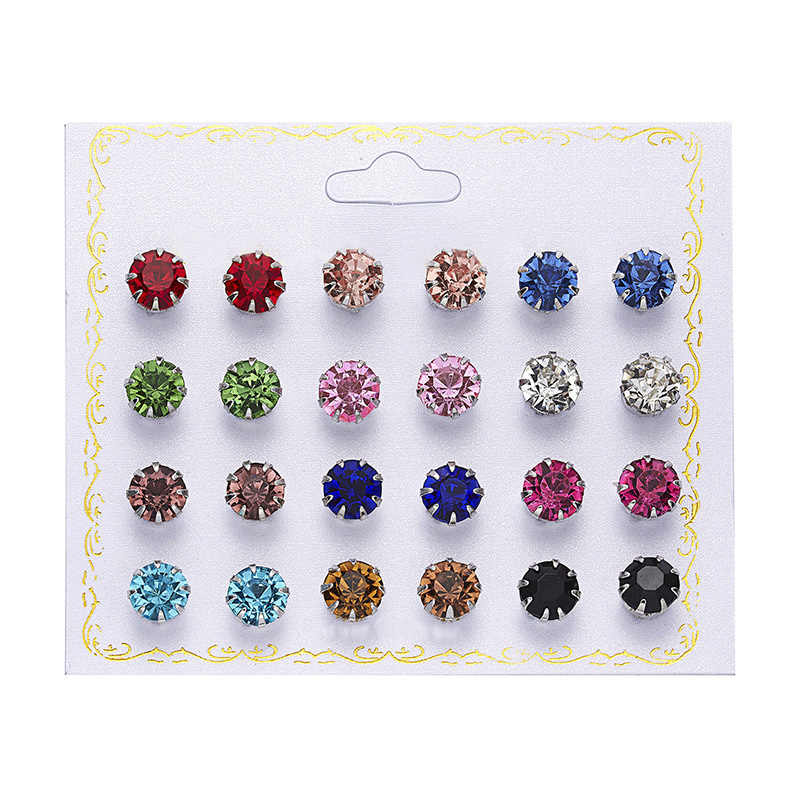 12 pairs/set Crystal Simulated Pearl Earrings Set Women Jewelry Piercing Ball Stud Earring kit Bijouteria brincos fashion