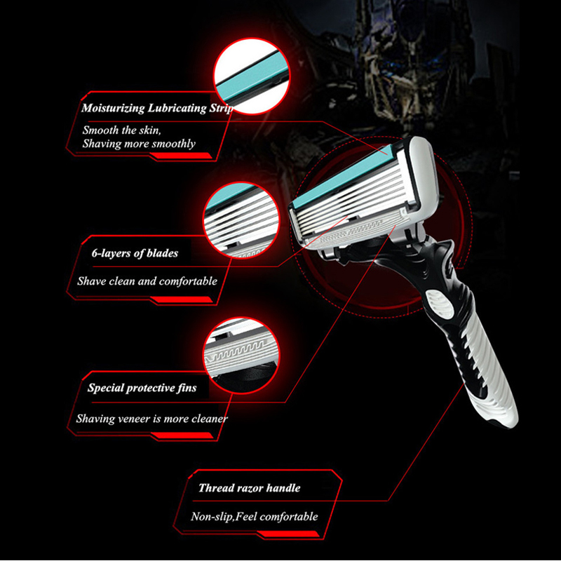 Купить с кэшбэком New Good Quality Dorco Razor Men 3 Pcs/lot 6-Layer Blades Razor for Men Shaving Stainless Steel Safety Razor Blades