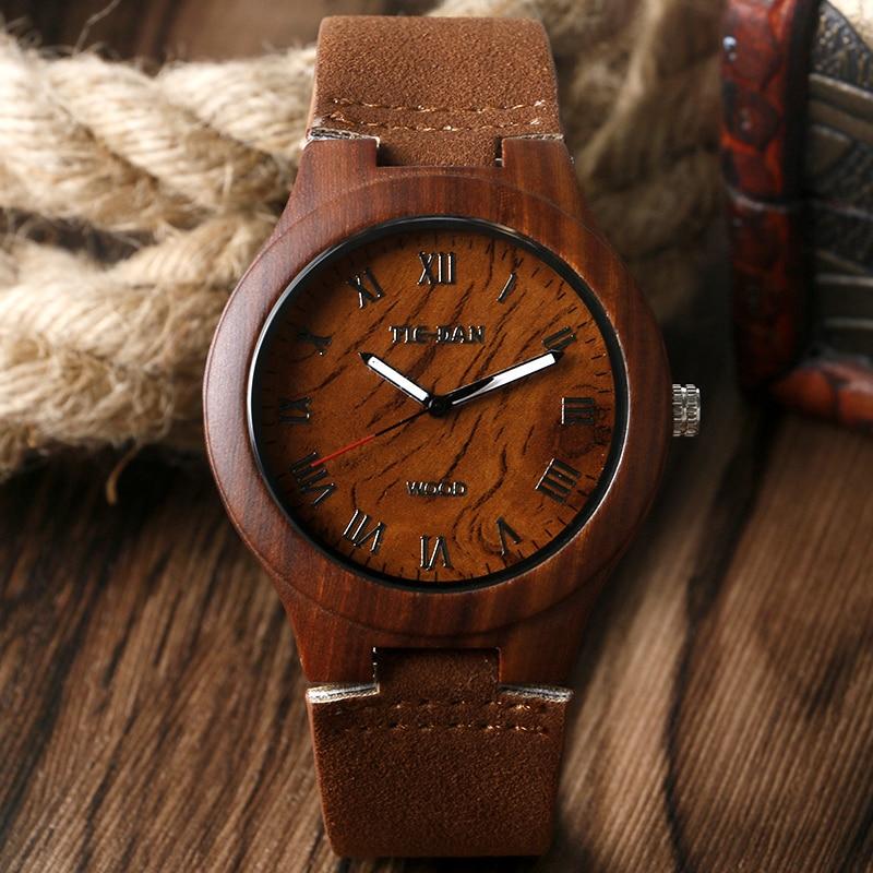Novel Women Men Quartz Wrist Watch Bamboo Genuine Leather Strap Roman Numbers Nature Wood Case Design Fashion Watches Gift