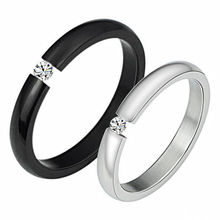 2016 new arrival creative fashion rings black and white Rhinestone couple rings 316L titanium steel Engagement party rings