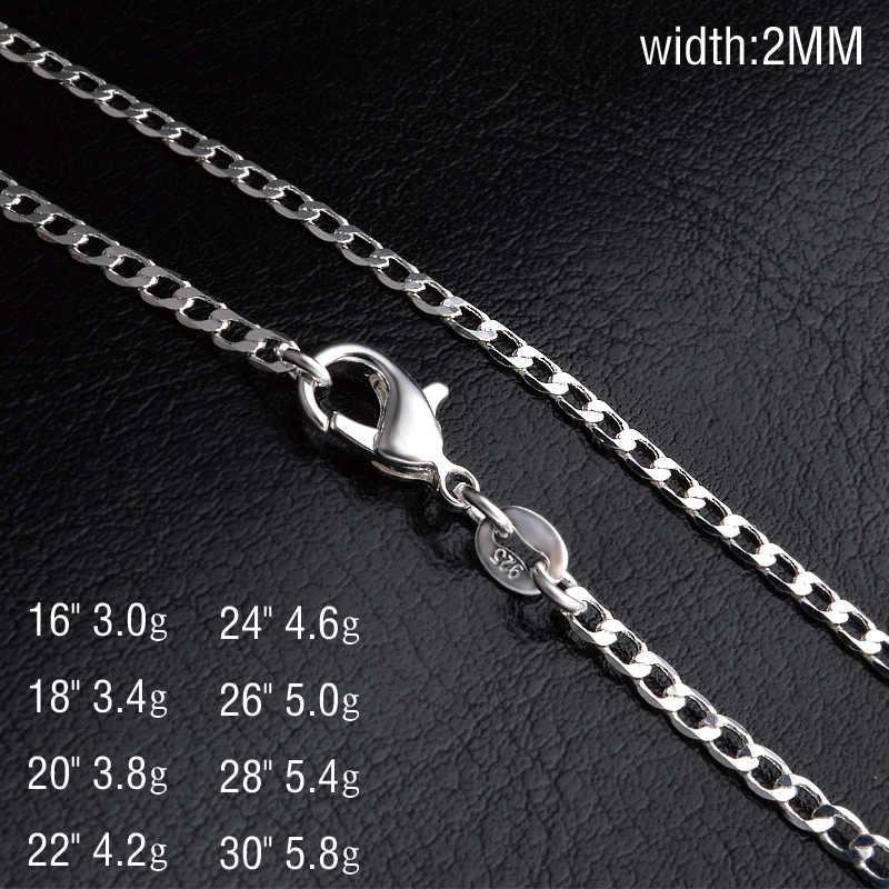 925 Zilveren Kettingen 2mm Breedte Ketting voor Mannen Vrouwen Mode-sieraden Promotie 16-30 inch Accessoires geschenken
