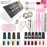 GDCOCO Full manicure nail art file soak off wips mini led lamp decoration rhinestone gel nail polish color coat topcoat kit set